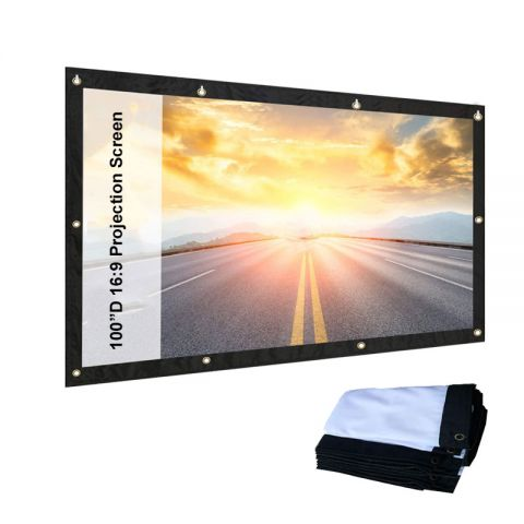 "100""D 16:9 Indoor, Outdoor Theater Movie Projection Screen Projector, Matte White"